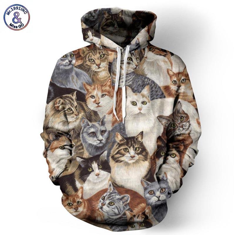 Mr 1991INC Cap Hoodies Men Women Sweatshirts Brand 3d Jacket Print Cats Animals Men Hoodies Hooded