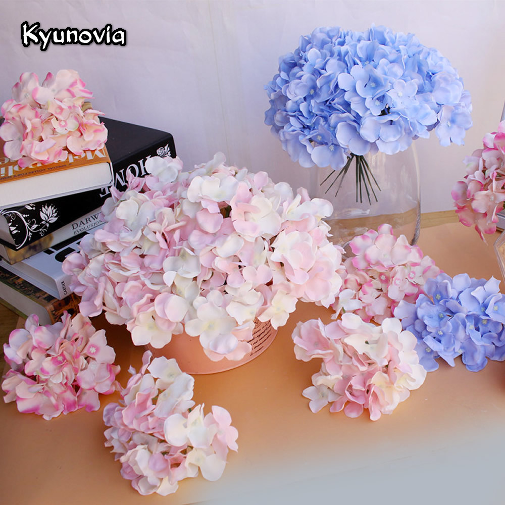 Kyunovia 10pcs Diy Artificial Silk Hydrangea Heads Home Flower For