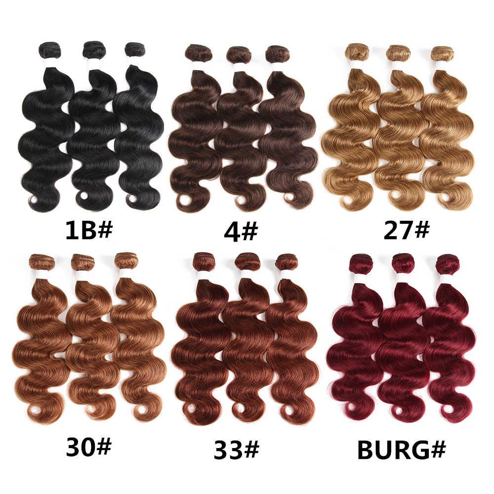 Блонд, коричневый цвет, человеческие волосы, плетение 3/4 пучков, дело с кружевной фронтальной X-TRESS, бразильские волнистые волосы, не Реми, пряди волос на сетке