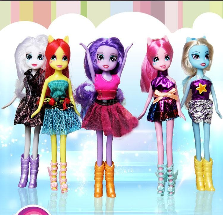 5pieces 25cm hight cute lovely ponies  action figures  doll toys for Children gift 12pcs set children kids toys gift mini figures toys little pet animal cat dog lps action figures