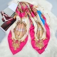 Fashion Plaid Print Large Square Silk Scarf Shawl 100% Pure Silk Scarves Wraps Cape Top Grade Hand Rolled 106x106cm