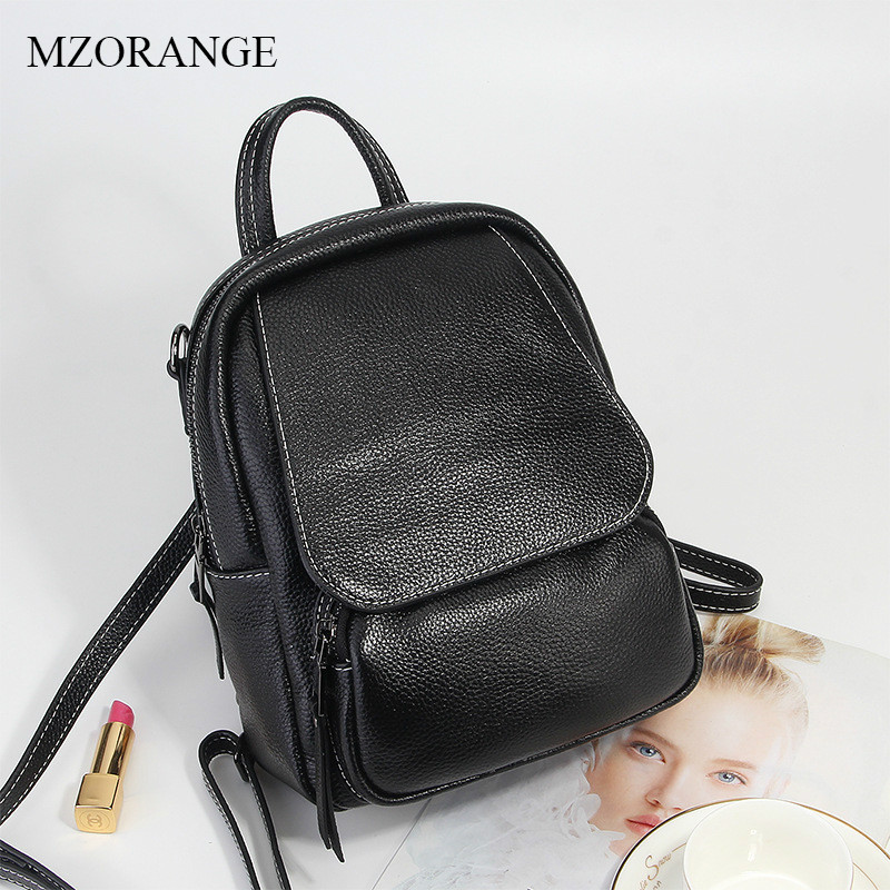 MZORANGE Brand Casual Backpack Genuine Leather Simple Girls School Bags 2018 New Women Backpacks Solid Female Travel Bags hot sale 2016 new fashion women genuine leather backpack school bag female travel bags daily backpacks casual shoulder bags