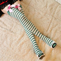 1Pair GR-081 Fashion Green,Black, Pink,Red strawberry Bow Striped Stockings for Women Ladies Girls