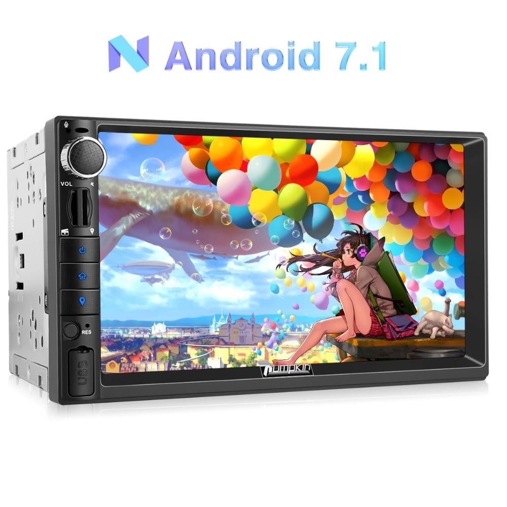 Citrouille 2 Din Voiture Lecteur Multimédia Android 7.1 Quad Core Universelle pour Autoradio GPS Navigation Wifi 4g Audio Stéréo joueur Pas de DVD