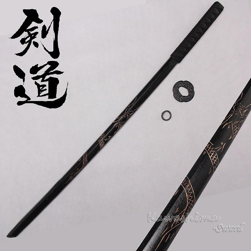 Dragon Design Wooden Sword Samurai  Bokken Practice  Kendo Stick Bushido Katana With PU Bag Sheath Scabbard-100cm