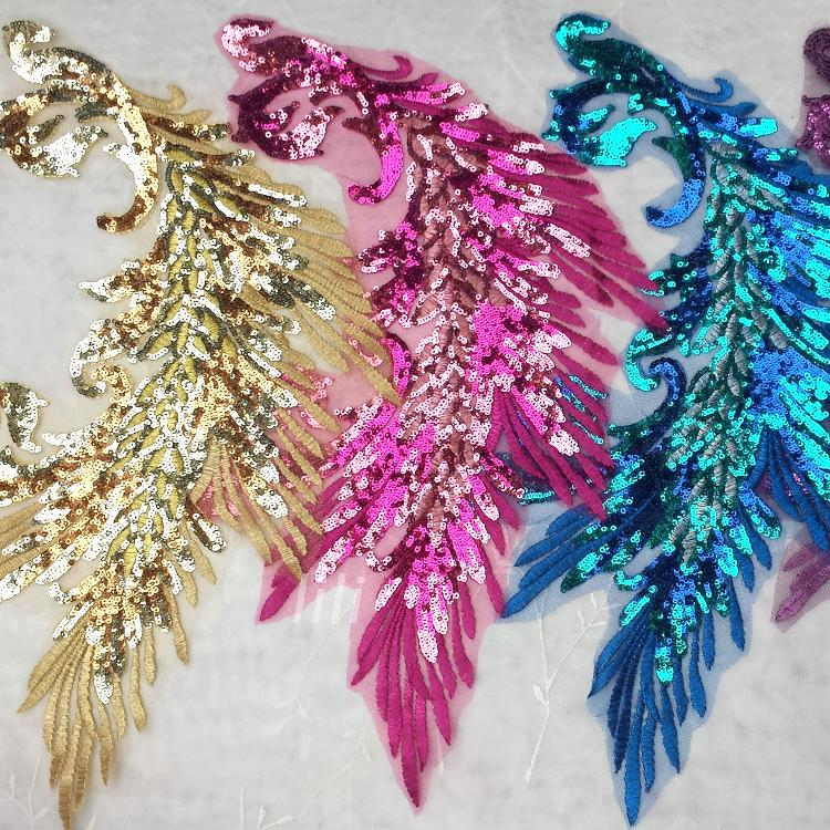 Buy sequins embroidery phoenix applique for Where can i buy peacock feathers craft store