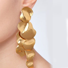 Best lady 2018 New Drop Earrings Women Long Irregular Colorful Metal Hanging Earrings Party Friend Gifts Jewelry Accessories Hot(China)