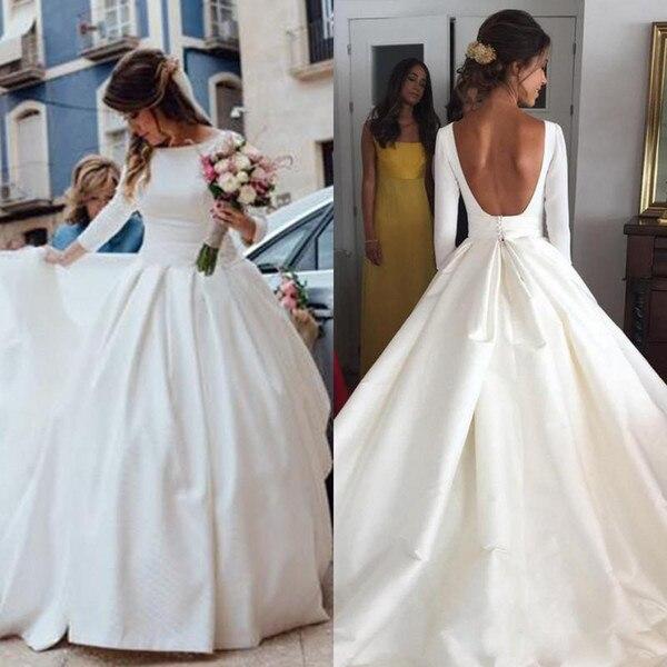 2019 dos nu robes de mariée Bll robe Vintage Scoop manches longues Satin robe de mariée dos ouvert conception Simple mariée réception porter