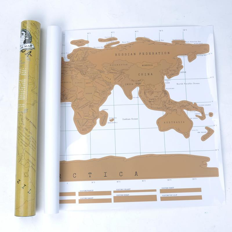 Gold World Map Poster.Hot Sale Gold Travel Journal Scratch World Map Deluxe Wall Sticker