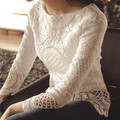 2016 Women Lace Shirts Blouses Long Sleeve Spring Summer Embroidery Floral Lace Crochet Tops Hollow Out Lace Blusas