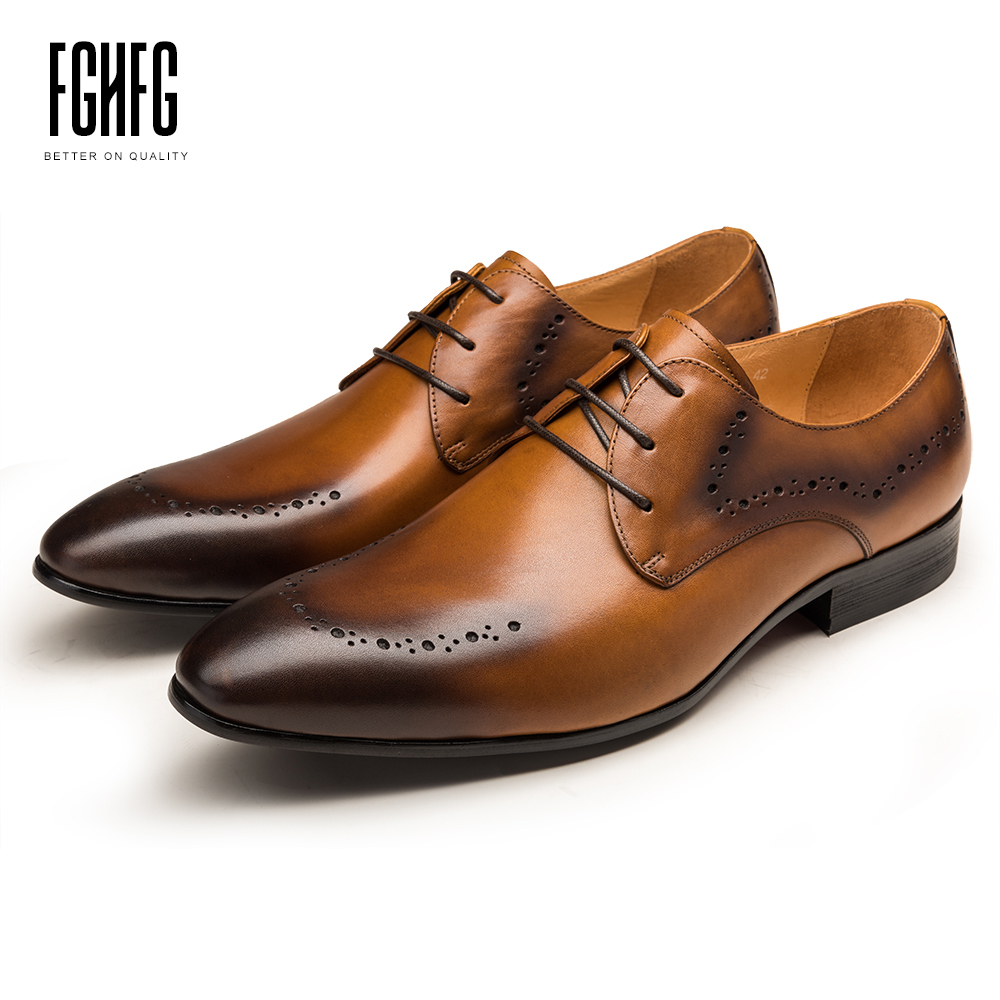 Classic Men's Derby Shoes Cowhide Leather Pig Inner Round Toe Genuine Leather Wedding Business Dress Shoes 2018 New Lace-up classic men s genuine leather shoes cowhide leather pig inner pointed toe derby dress wedding business shoes 2018 fashion
