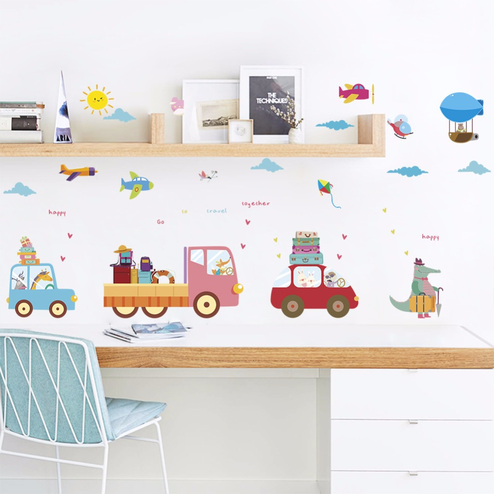 % Cartoon Animal Car travel Wall Stickers Classroom ...