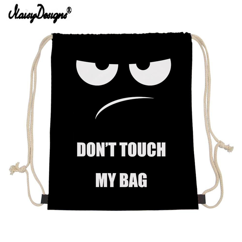 NOISYDESIGNS Customzied Small Drawstring Bag Don't Touch My Bag Printing Storage Bags Daily Backpack Junior Boy Storage Mochila