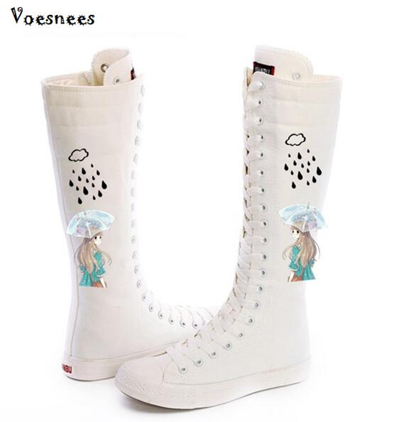 Fashion Doodling Zipper Girl's Canvas Shoes Boots Women High top Canvas Shoes White Black Hand Painted Boot Leisure Board Shoes