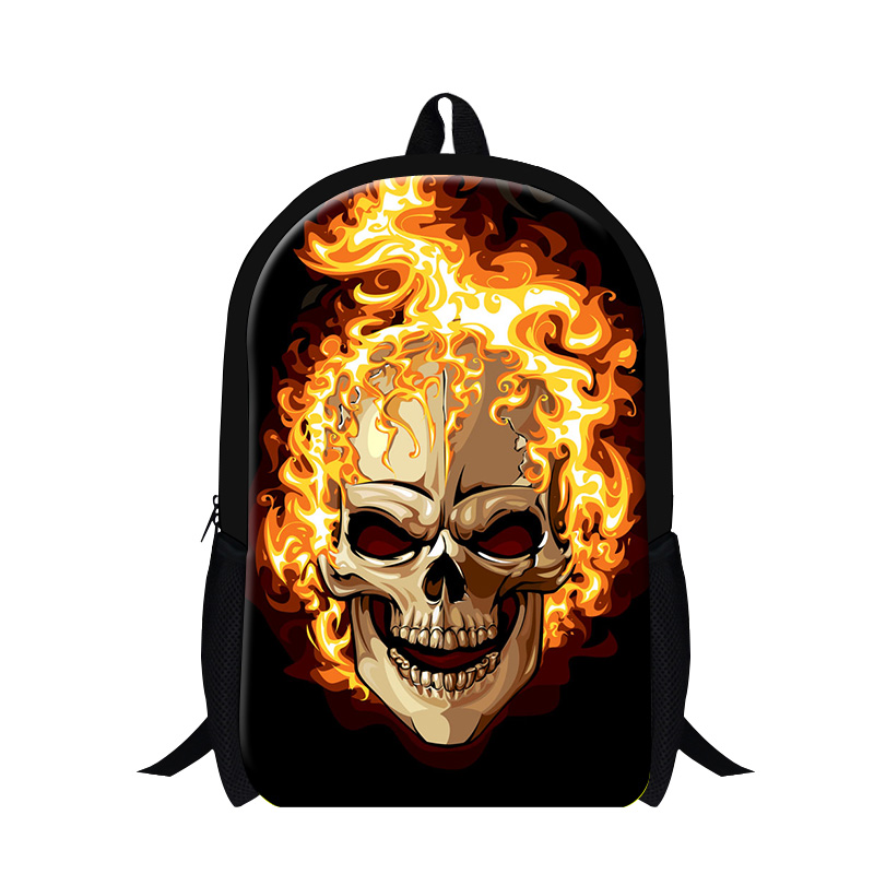 Free Shipping Fashion Cool Pirate Mens Backpack Fire Skull Print For Halloween School Bag Small Student Bag College Shoulder Bag