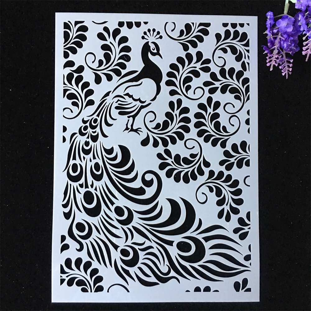 1Pcs A4 29*21cm Peacock Leaves DIY Layering Stencils Painting Scrapbook Coloring Embossing Album Decorative Template