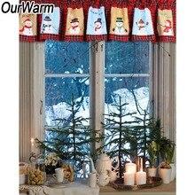 цена на OurWarm 180*35cm Red Pleated Window Valance Cute Snowman Half Window Curtain Window Drape Panel New Year Christmas Home Decor