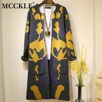 MOON WALK Long Sleeve Sweater Women 2015 Autumn Winter Fashion New Camouflage Long Knitted Female Cardigan