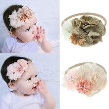 Nishine 1PCS Burning Rose Flower Elastic Nylon Headband Baby Newborn Girls Photography Props Birthday Gifts