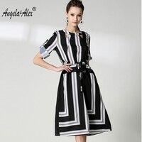 Fall 2017 Autumn New Fashionable Dress Sstyle Elegant Stripe Dress Autumn Dress Temperament A Line Skirt