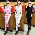 2016 mujeres del resorte de nuevos de manga larga 2 unidades fijaron mujeres delgadas del todo fósforo pantalones largos ropa deportiva casual