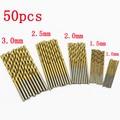 50 pcs broca hss aço titanium hetero shank torção broca de mão 1.0-3.0mm