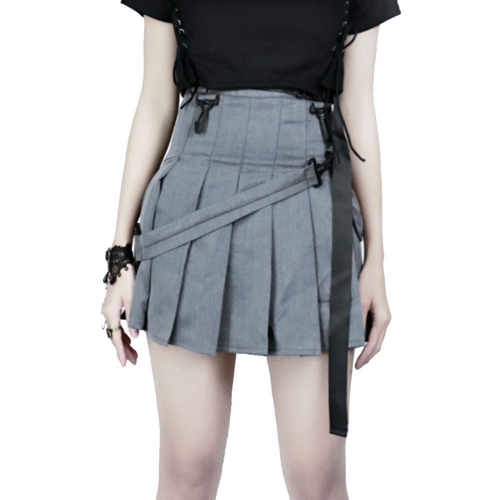 Preppy Style Women Gray Pleated Skirts with Belt Steetwear Sexy High Waisted Short Mini Casual Skirt
