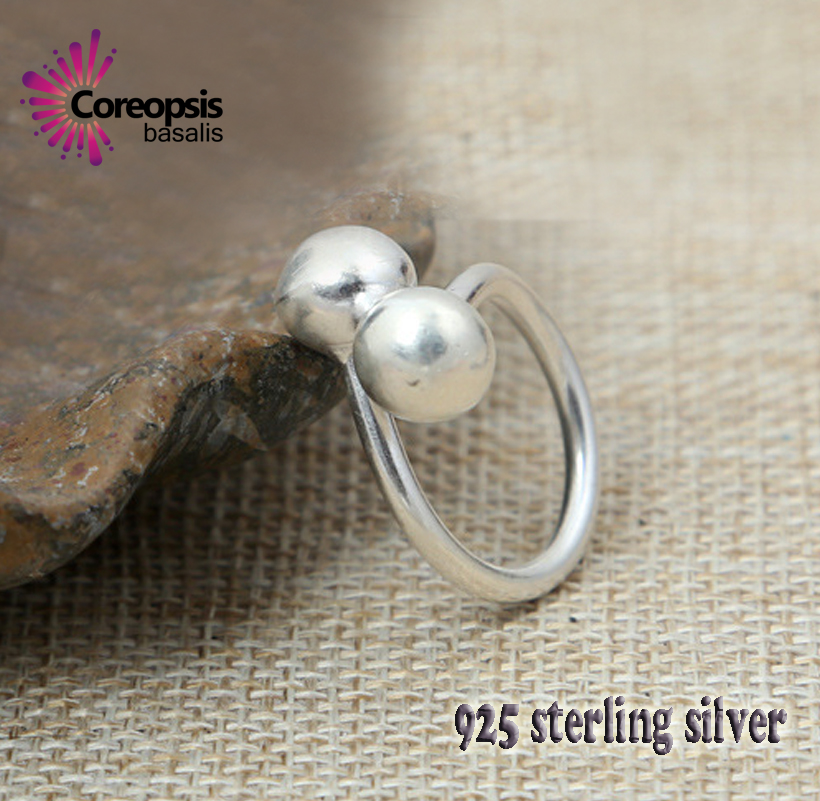 $ New classic Retro Style High Quality 925 sterling Silver Double photosphere Ring Fashion Opening intersect men of women ring