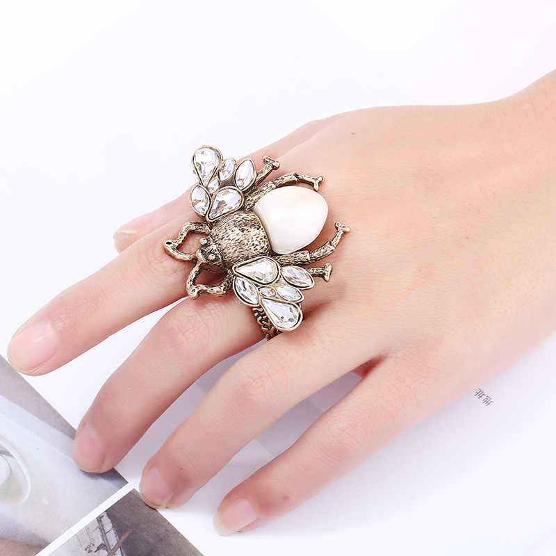 Summer Jewelry Vintage Bee Simulated Pearl Bee Ring For Women Antique Red White Insect Adjustable Finger rings Female Punk Party