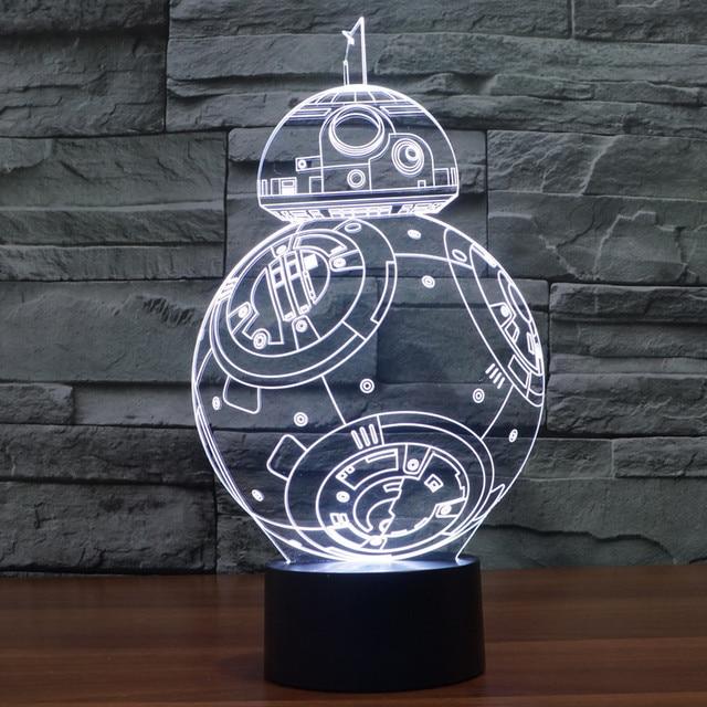 3D Иллюзия Лампы Светодиодные Star Wars BB-8 Робот Акриловые Красочные Градиент Атмосфера Лампа Новинка Любителей Аниме Собирать Игрушки