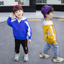 Children's clothing spring and autumn new long-sleeved jacket 2019 baby solid color back printing hooded jacket boys clothes long sleeved overalls suit male wear spring and autumn workshop factory clothes jacket auto repair clothing sanitation tooling l