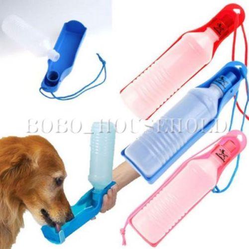 Plastic Pet Travel Water Drinking Bottle Portable Pet Dog: 500ML Plastic Foldable Pet Dog Cat Travel Water Drinking