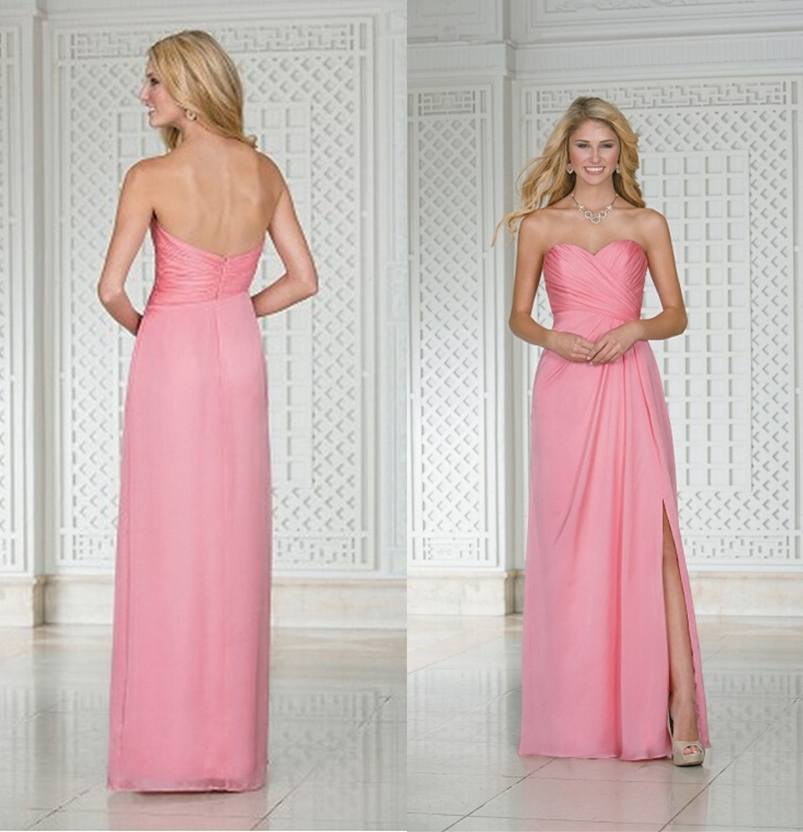 Peach Color Blush Pink Bridesmaid Dress Full Figure Prom Dresses ...