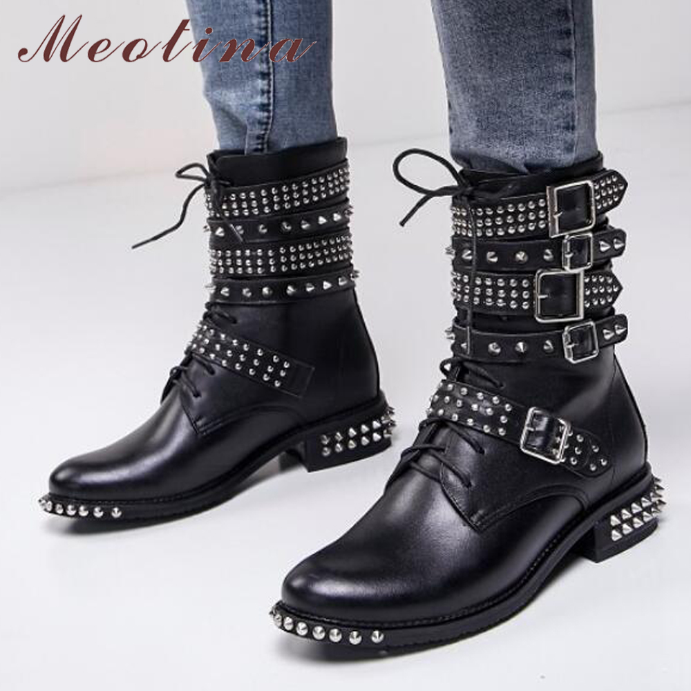Meotian Genuine Leather Ankle Boots Motorcycle Boots Winter Buckle Leather Punk Rivets Square Low Heel Lace Up Shoes Black 40