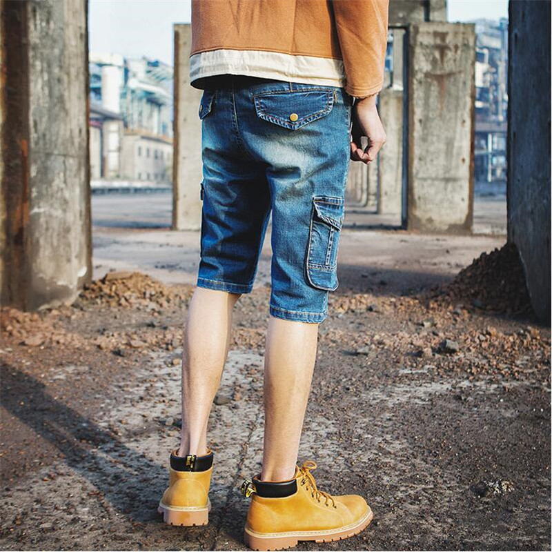 2018 Summer New Denim Shorts Jeans Men Cargo Short Pants Japan Style Fashion Multi Pocket Denim Short Jeans Pants A3505