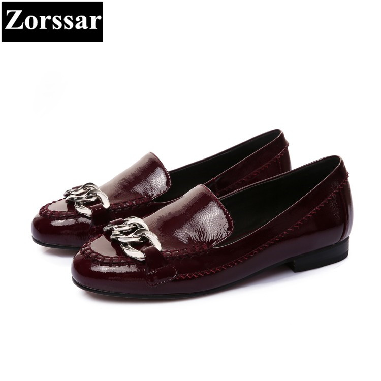 {Zorssar} Fashion chain Women High Heel Shoes woman Pumps Lady leisure low heel Shoes Genuine leather Shoes big size 33-43 цена 2017