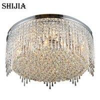 Modern LED Shine Round Crystal Ceiling Lights for Living Room Bedroom Ceiling Lamp Chrome Light Fixture