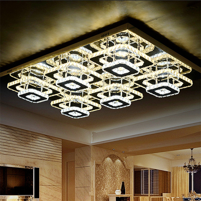 Modern K9 Crystal Ceiling Lights Rectangle Plafonnier Stainless Steel LED Lustres for Living Room Chandelier Ceiling Fixtures