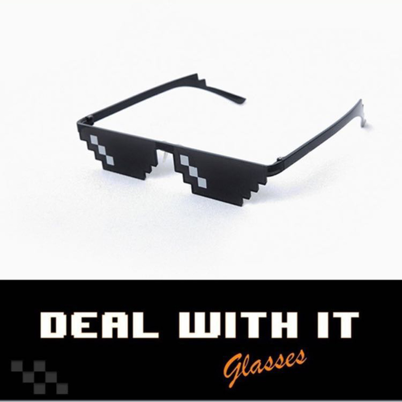 Women Men Sunglasses Deal With It Thug Lige Glasses Meme MLG Shades 8 Bit Pixelated Unisex Driver Glass Eyeglasses