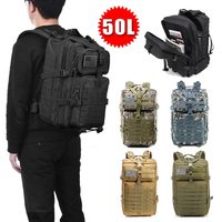 Large Capacity 50L Men Army Tactical Backpacks Outdoor 3D Polyester Military Assault Bag Travel Trekking Camping Hunting Bags
