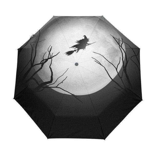 Happy Halloween Witch Umbrella Custom Portable Folding Umbrella Travel  Design Rain Umbrellas Hat Unique Parasol afe62e7bad4