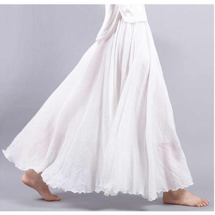 9eb4bd459 ... Women Linen Cotton Long Skirts Plus Size Elastic Waist Pleated Maxi  Skirts Vintage 2 Layers Summer ...