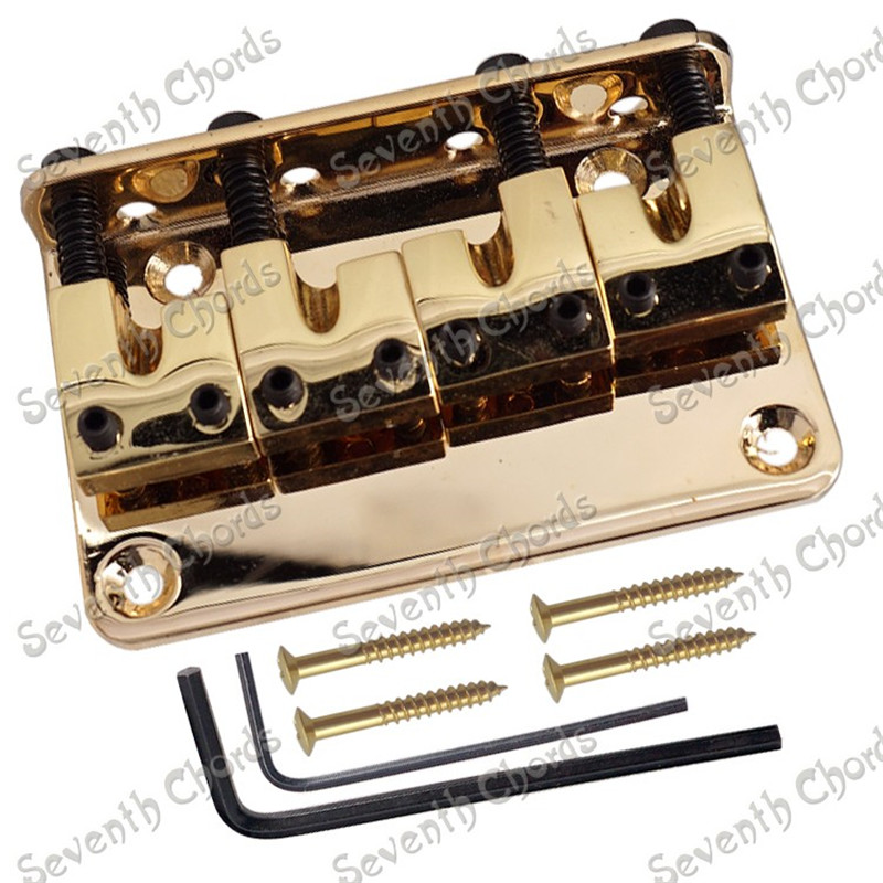 A Set L-Shape 4 Saddle Bridge For 4 String Bass Guitar Replacement W Screws and Wrench  Gold a cat a hat and a piece of string