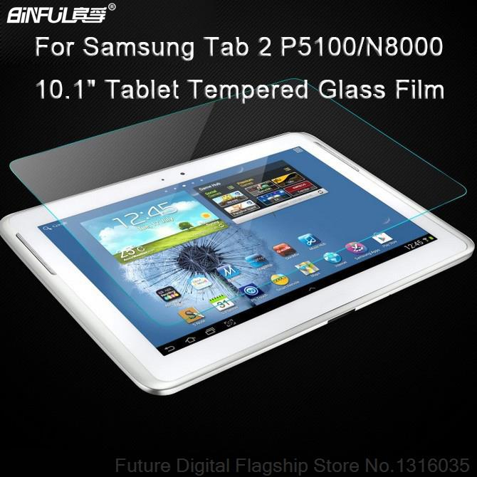 BINFUL Tempered Glass Screen Protector For <font><b>Samsung</b></font> Galaxy Tab 2 10.1 <font><b>P5100</b></font> P5110 Note 10.1 N8000 N8010 Tablet Protective Film image