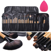 Professional 24Pcs Makeup Brushes Eyeshadow Powder Brush Set With Case Sponge Puff Cosmetic Tool Kits