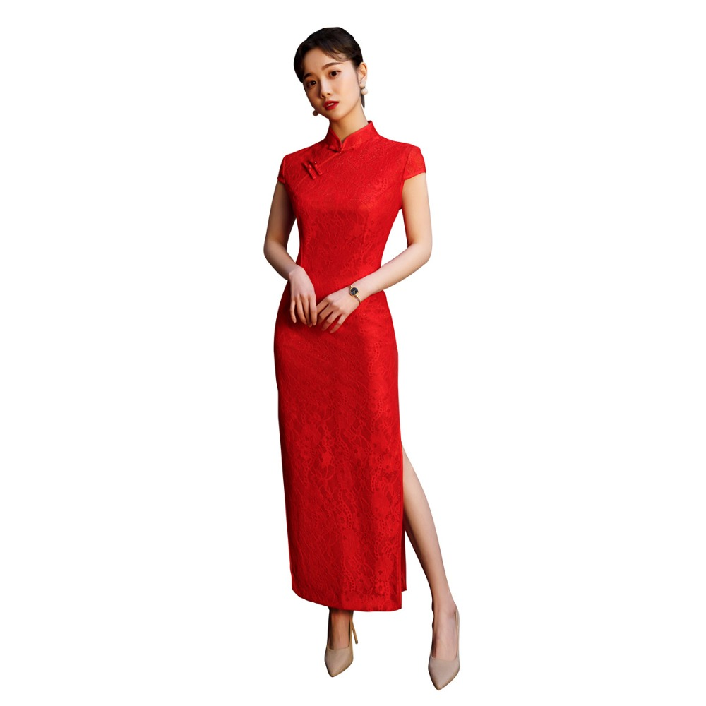 Shanghai Story Lace Chinese Traditional Dress Short Sleeve Long Qipao For Women Red Cheongsam Dress