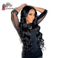 Sunnymay 360 Кружева Фронтальная парик предварительно сорвал тела волны бразильский парики, кружева природа волосяного покрова человеческих во