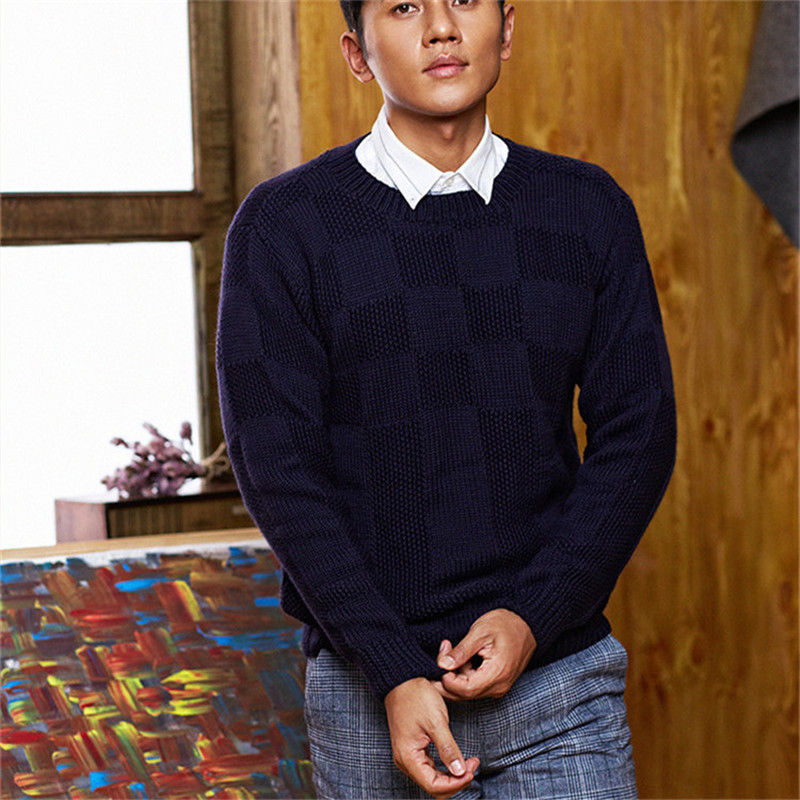 100% Hand Made Pure Wool Oneck Knit Men Fashion Plaid Solid Pullover Sweater Customized