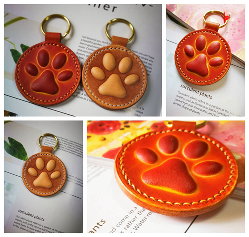 Leather Craft Dog Cat Paw Key Ring DIY Handing Decoration Shape Modeling Plastic Mold With Die Cutting Plastic Mould Set 60mm