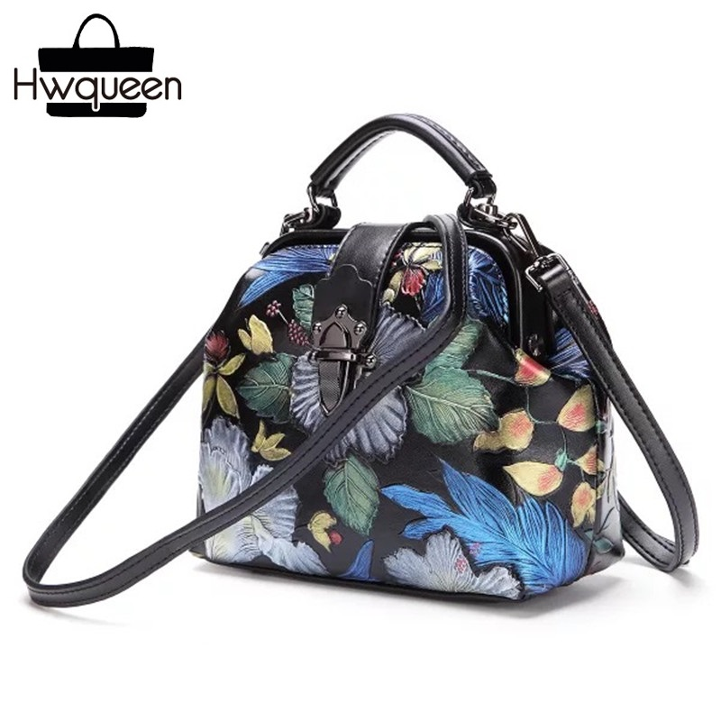 цена на Chinese Floral Style Women's Small Solid Handbag Genuine Leather Female Clutch Purse Top-handle Lady Flower Single Shoulder Bag